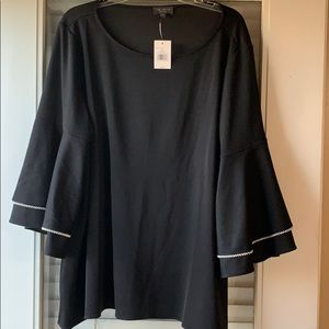 Black blouse with pearl bell sleeves